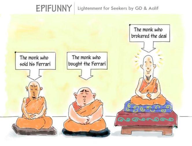 The Monk Who Sold His Ferrari Cartoon