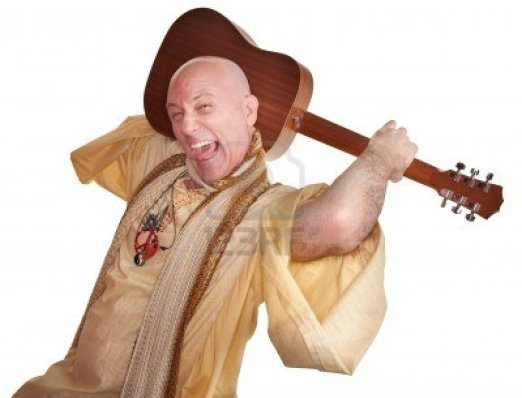 crazy-bald-guru-holds-guitar-over-white-background