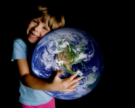 Boy Hugging Planet