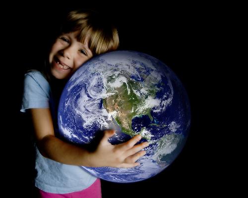Boy Hugging Planet