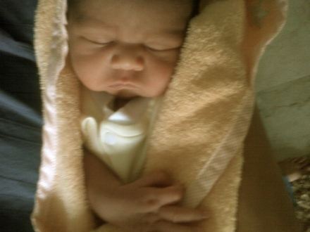 The first photograph of Nirvaan when he entered our home after he was born.