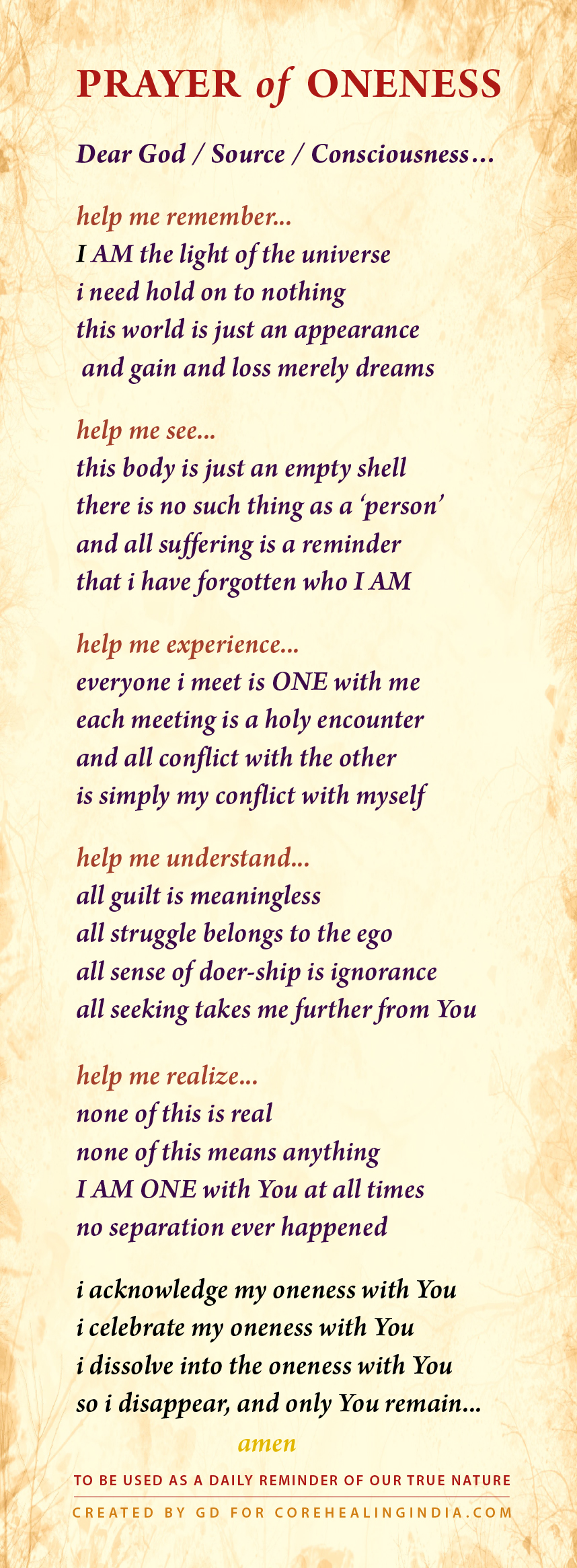 GD Daily Advaita Prayer