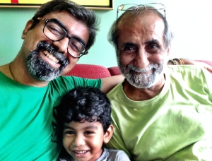 With my father and son